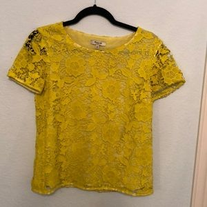 Madewell Yellow Lace Top
